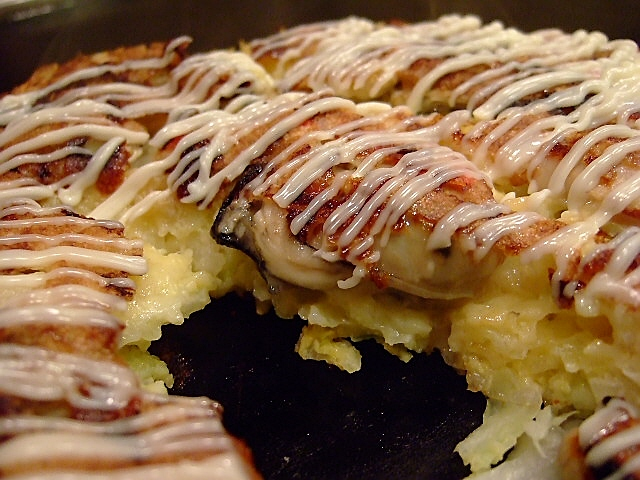 Mのディナー 牡蠣だらけのお好み焼きが食べたくて・・・ 今里 「桃太郎」