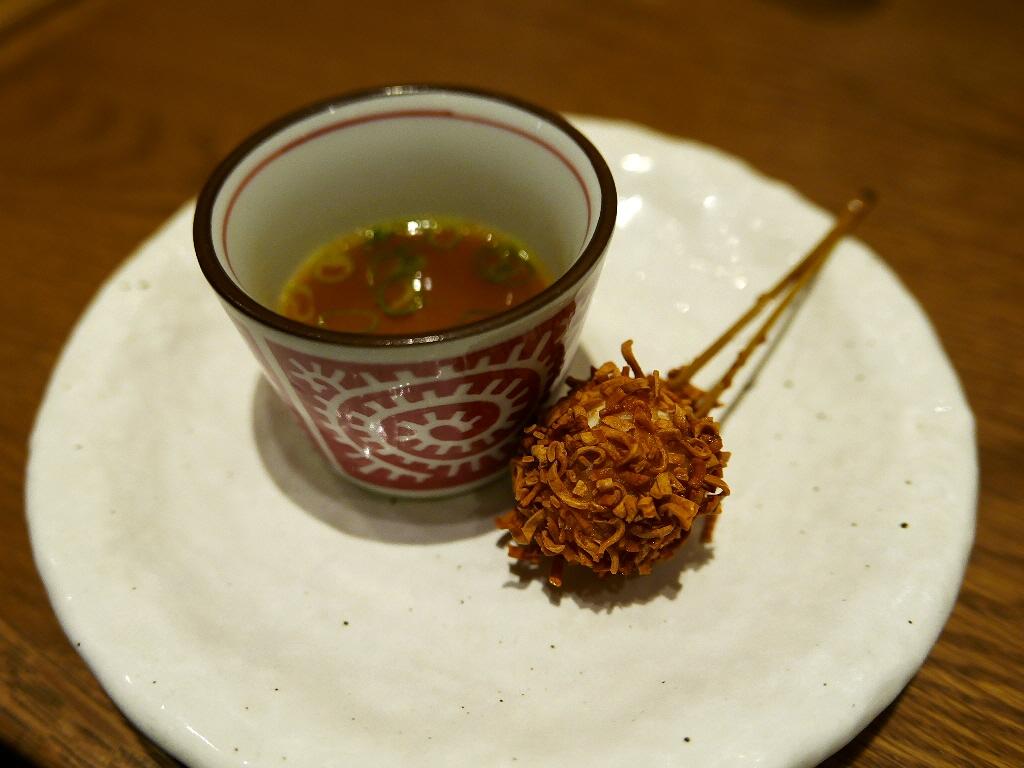Mのディナー 世紀の大発明チキンラーメンを使った串カツは世紀の大発見です! 京都  「串かふぇ 凡凡屋」