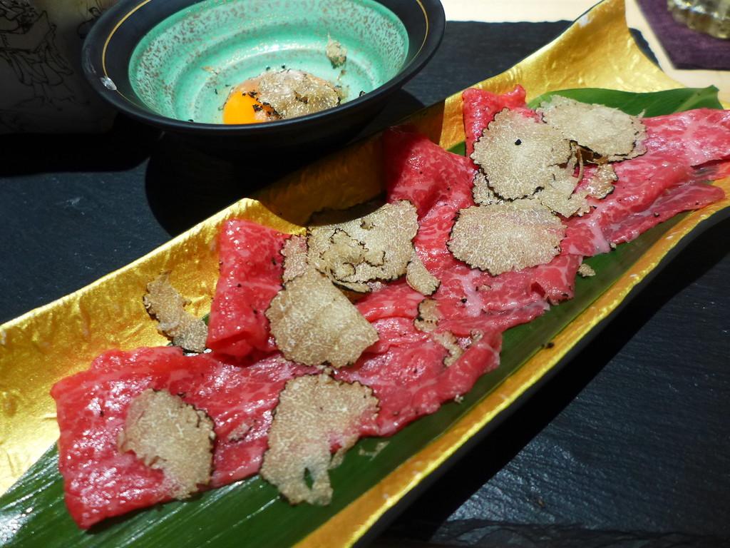 Mのディナー  トリュフが乗った日本一高いお蕎麦とトリュフまみれの料理で贅沢三昧のお値打ちコース! 北新地 「トリュフそば わたなべ」